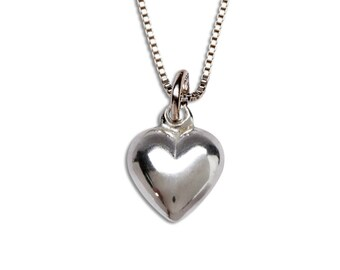 Sterling Silver Puff Heart Charm Necklace with Gift Box  (BCN-Puff Heart)