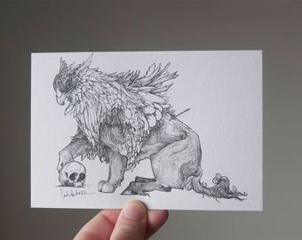 Griffin Drawing, Griffin Art, Griffin Illustration, Griffin Postcard, Fantasy Postcard, Fantasy Drawing, Fantasy Ink, Small Art, A6 Print