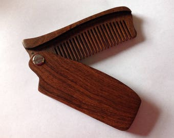 Black Sandalwood Folding Beard Comb Fine Tooth Comb Beard Basics Antistatic Therapeutic Aromatic