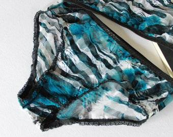 blue mesh panties, modern minimalist lace hipster, zebra print lingerie