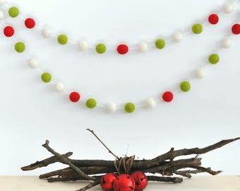 Green Christmas Garland - Rustic Christmas Garland - Christmas Garland - Rustic Christmas Decorations - Felt Ball Garland - Pom Pom Garland