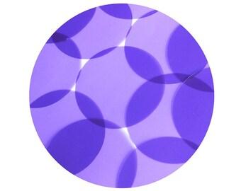 Round Vinyl Shape No Hole 60mm Purple Go Go Transparent