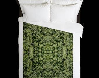 Leaf Duvet Cover, Bohemian Duvet Cover Rhino Bolt Cannabis Print,Duvet Cover Floral, Leaf Bedding,Hippy Decor, Duvet Cover King