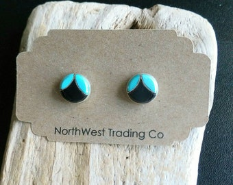 Native American Indian Jewelry,Zuni Jewelry, Turquoise Jewelry,American Indian Jewelry,Zuni Turquoise & Onyx Post Earrings