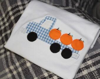 Boys Pumpkin Shirt, Flatbed truck, Pumpkins, Pumpkin Applique, Boys shirt