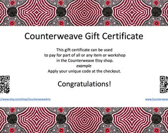 Counterweave Arts Gift Certificate 25 Euros