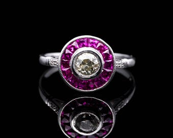Art Deco 1.69ct Champagne Diamond & Ruby Target Ring in Platinum