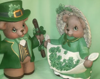 Set of Boy and Girl St. Patrick's Day Bears