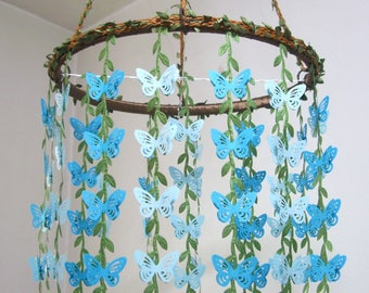 Butterfly Mobile,Baby Mobile,Boy,Girl,Nursery decor,Hanging Crib Mobile,Woodland,Kit,Paper,Bridal Baby Shower,Gift,Wedding Chandelier,Blue