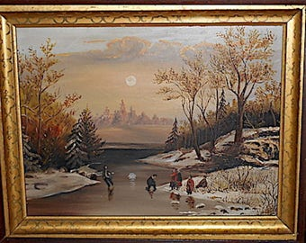 1900s Original Oil Painting on Tin, with  Original Dark Wood Frame