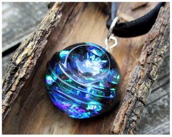 Violet purple blue green iridescent pendant necklace