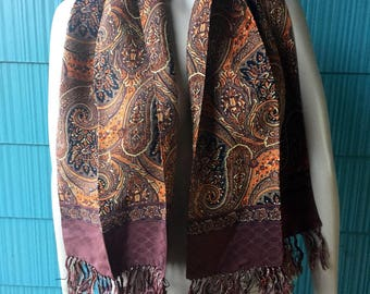 Vintage 60's Brown Paisley Print Fringed Wide Silky Polyester Scarf