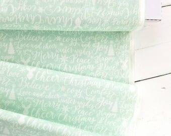 Comfort and Joy - Comfort Words(Light Green Background) - Dani Mogstad - Riley Blake Designs