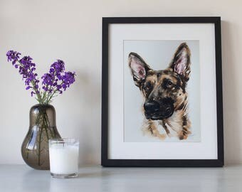 custom dog portrait, original watercolor painting, German Shepherd, Alsatian, dog or cat painting, handmade gift/present