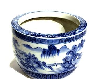 Blue and White Large Ceramic Hibachi - FREE SHIPPING
