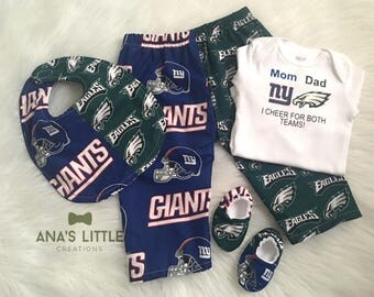 Custom House Divided (Philadelphia Eagles- New York Giants) I Cheer For Both Teams and Pants or Shorts Bib, Shoes 4pc Set