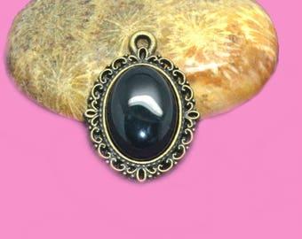 2 cabochons gemstone 14 x 10 black agate