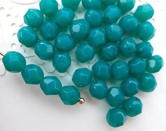 Czech Glass Beads Faceted 6mm - ALBASTER MALACHITE GREEN - 50pcs