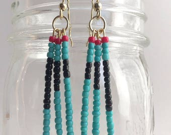 Turquoise & Black Dangle