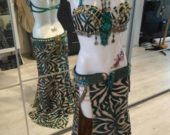 Emerald tribal fusion sequin skirt