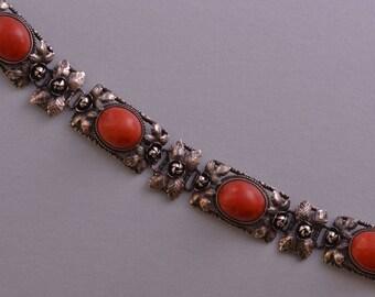 Silver Vintage Bracelet With Coral (766e)
