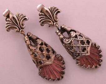 Vintage Clip On Drop Earrings