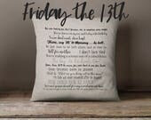 Friday the 13th movie quote pillow cover 18x18inch - movie quotes - horror movies - washable pillow cover - fiber arts - home textiles