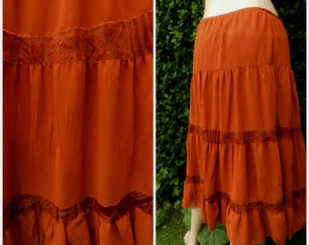 Vintage Gypsy Skirt long indie Folk Skirt Tiered Rust Orange Velvet Brocade  Lace Insert  UK 8-10 US 6_8 Frill Hem
