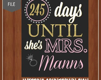 Pink and Gold Wedding Countdown Sign - Bridal Shower Sign - Bridal Shower Countdown - Wedding Shower Decor - Countdown - Days Until