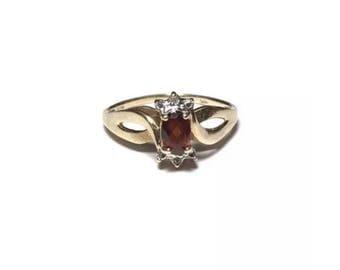 10k Gold Diamond Garnet Yellow Gold Ring MDS Size 7 Jewelry