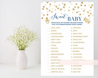 Sweet Baby candy game printable, Gold baby bridal shower, gold confetti, navy and gold, candy match, downloadable, INSTANT DOWNLOAD 008