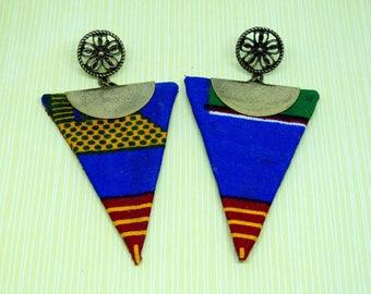 Boucles d'oreilles triangle motif wax