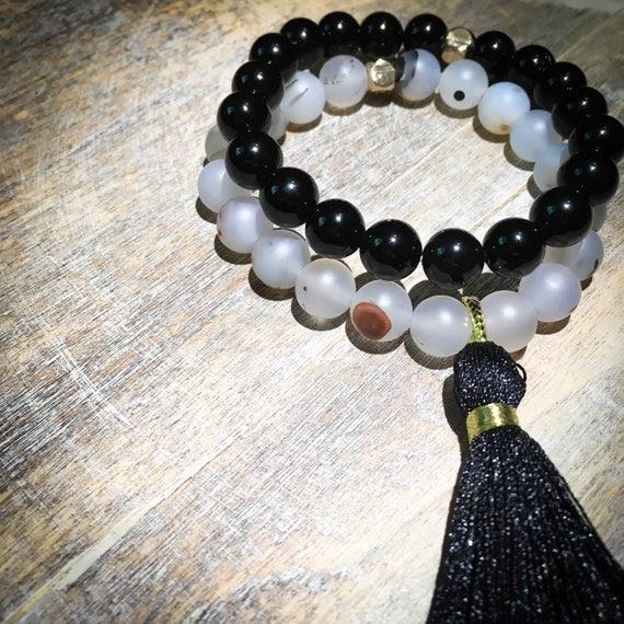 Mini wrist mala beaded bracelet stack with tassel: glossy black onyx & natural agate (mens, womens, unisex, kids)