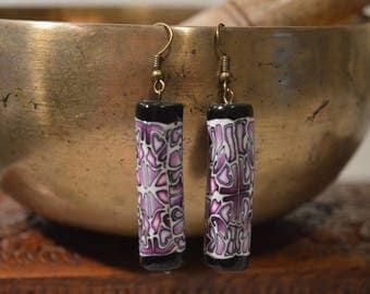Earrings cylinder long fimo - intricate pattern of gradient shades of purple/pink
