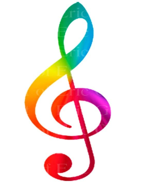 Band Music Note Rainbow Birthday - Edible Cake and Cupcake Topper For Birthday's and Parties! - D22715