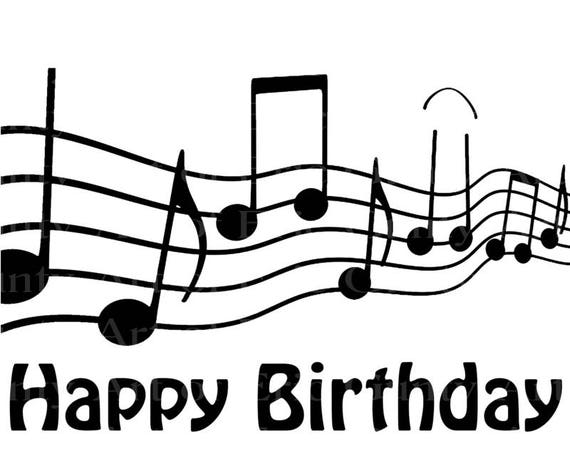 Musical Notes Band Happy Birthday - Edible Cake and Cupcake Topper For Birthday's and Parties! - D22856