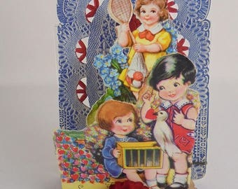 1930's Pop Up 3D Valentine Card With Crepe Paper - Germany