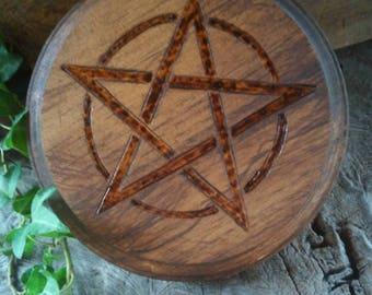 Altar Pentacle - Altar Tile - Altar Paten - Wiccan Altar - Pentacle Altar - Mahogany Altar Paten