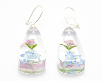 Multicolor earrings with forget-me-nots, gypsophila and green grass