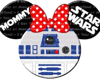 IRON-ON R2-D2 (Minnie) Ears! - Mouse Ears Tshirt Transfer