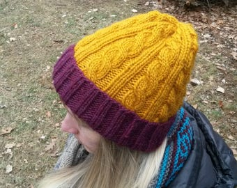 Cable Handknit wool hat