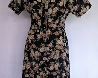 1980s Genuine Vintage DRESS Midi Black Floaty floral Brian Rochford Sz 12 Retro Feminine Day Tea Festival