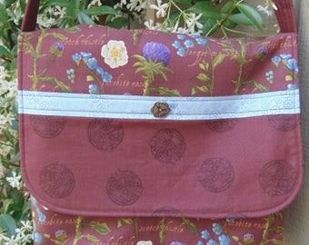 Outlandishly Inspired Messenger, Cross Body/Shoulder Strap Bag in Burgundy and French Blue