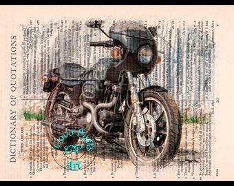 1977 XLCR Shovelhead Black HD Motorcycle Drawing Art - Vintage Dictionary Page Art Print Upcycled Page Print