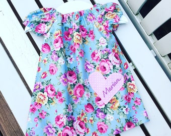 Can be personalised - BABY or GIRL'S DRESS in 100% cotton rose fabric in vintage style floral blue pink with puff sleeves ages 0-3 mths to 6