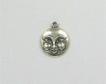 Sterling Silver 16mm Moon Face Charm