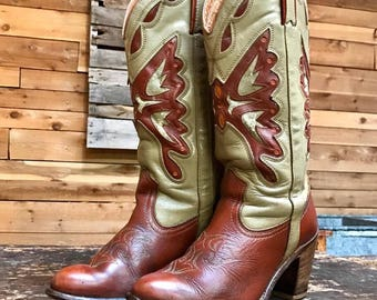 Vintage 1970s Miss Capezio Butterfly Cutouts Cowgirl Boots Vtg Red Brown Leather Women's Western Boots with Stacked Heel Size 7 1/2