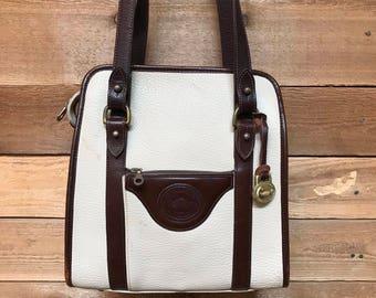 Vintage Dooney & Bourke Satchel Tote Vtg Bone White Dark Brown Pebbled All Weather Leather Bucket Bag Made in USA