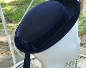 Vintage Laura Ashley Hat Wool Boater Sailor Navy Blue Girl Child Youth Velvet Ribbon Made in Great Britain Mother and Child 1980s