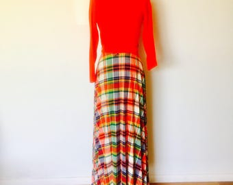 70s Red Plaid Maxi Dress Size S M by Toni Todd